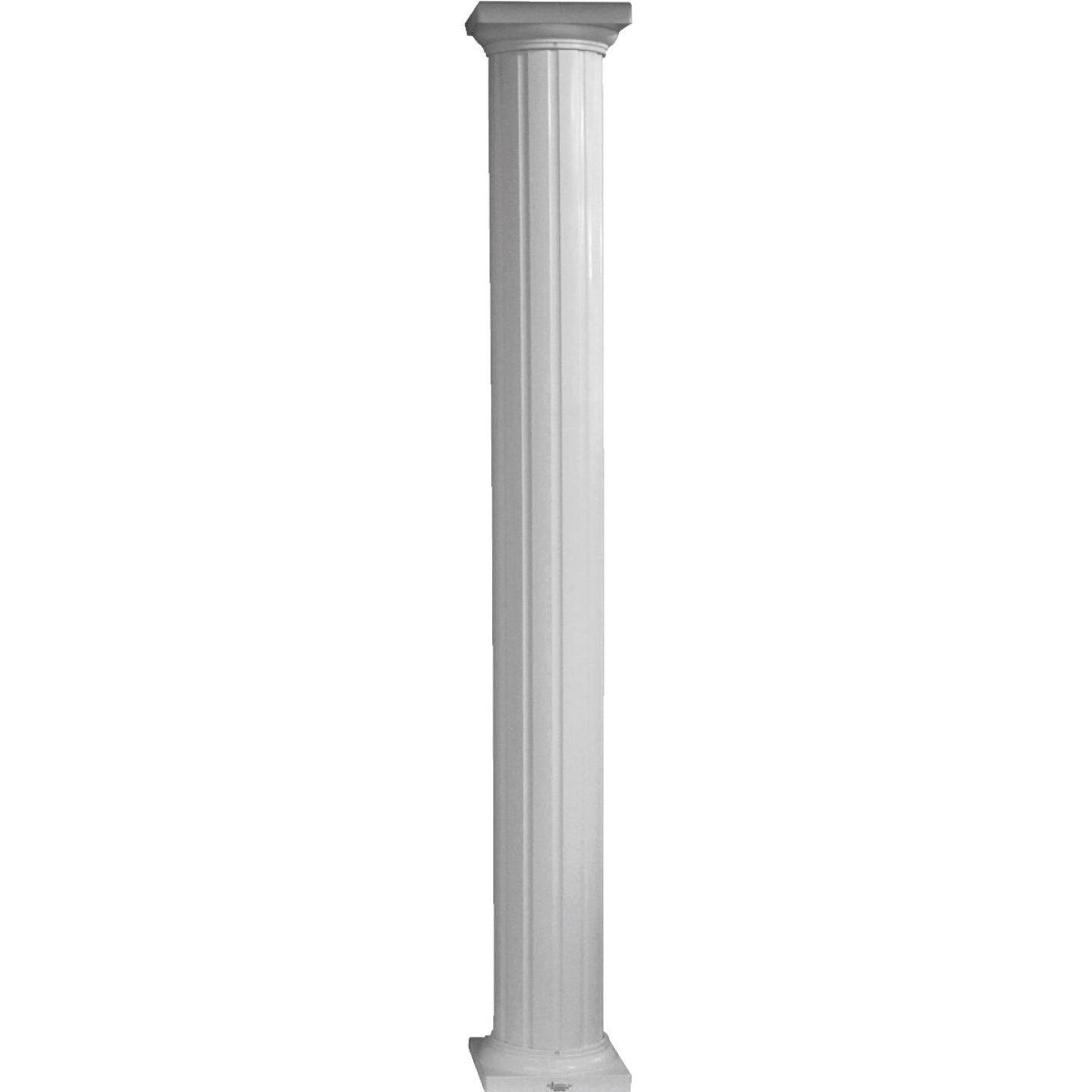 Crown Column 6 In. x 8 Ft. White Powder Coated Round Fluted Aluminum Column Image 1