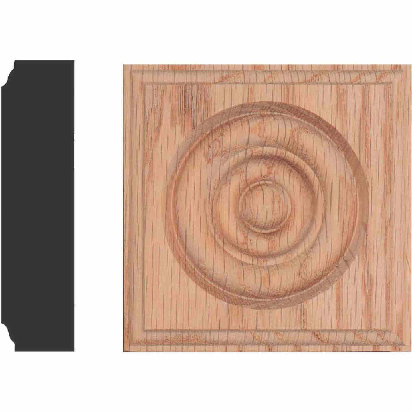 House of Fara 7/8 In. x 3-1/2 In. Unfinished Red Oak Rosette Block Image 1