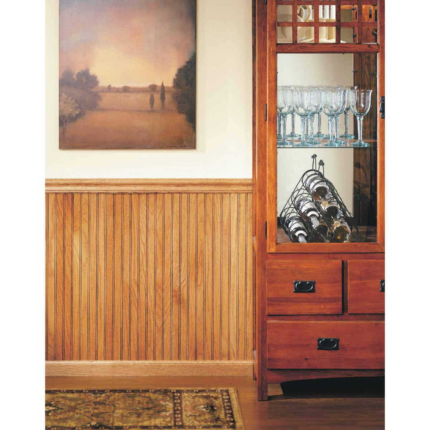 House of Fara 5/16 In. W. x 3-1/8 In. H. x 32 In. L. Unfinished Solid Red Oak Wainscot (6-Pack) Image 2