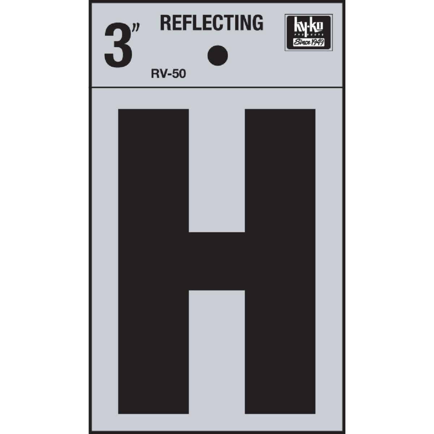 Hy-Ko Vinyl 3 In. Reflective Adhesive Letter, H Image 1