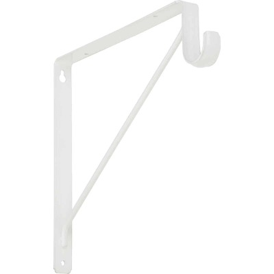 Stanley Home Designs 12-5/8 In. H. x 11 In. D. Shelf & Rod Bracket, White