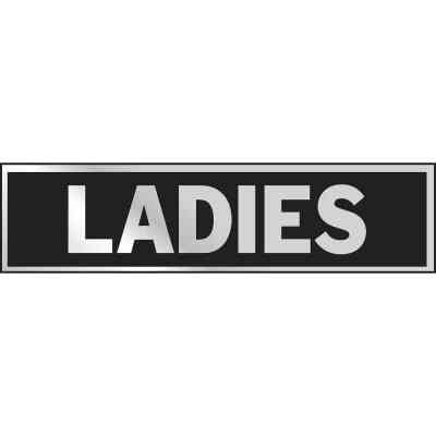 Hy-Ko Brushed Aluminum Restroom Sign, Ladies