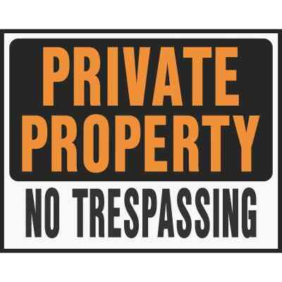 Hy-Ko Heavy Gauge Plastic Sign, Private Property No Trespassing