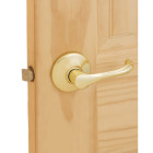 Kwikset Polished Brass Dorian Passage Door Lever Image 2