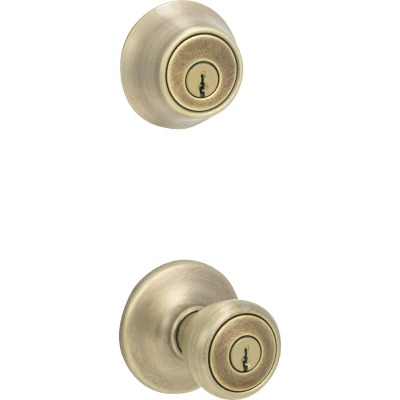Kwikset Antique Brass Deadbolt and Door Knob Combo