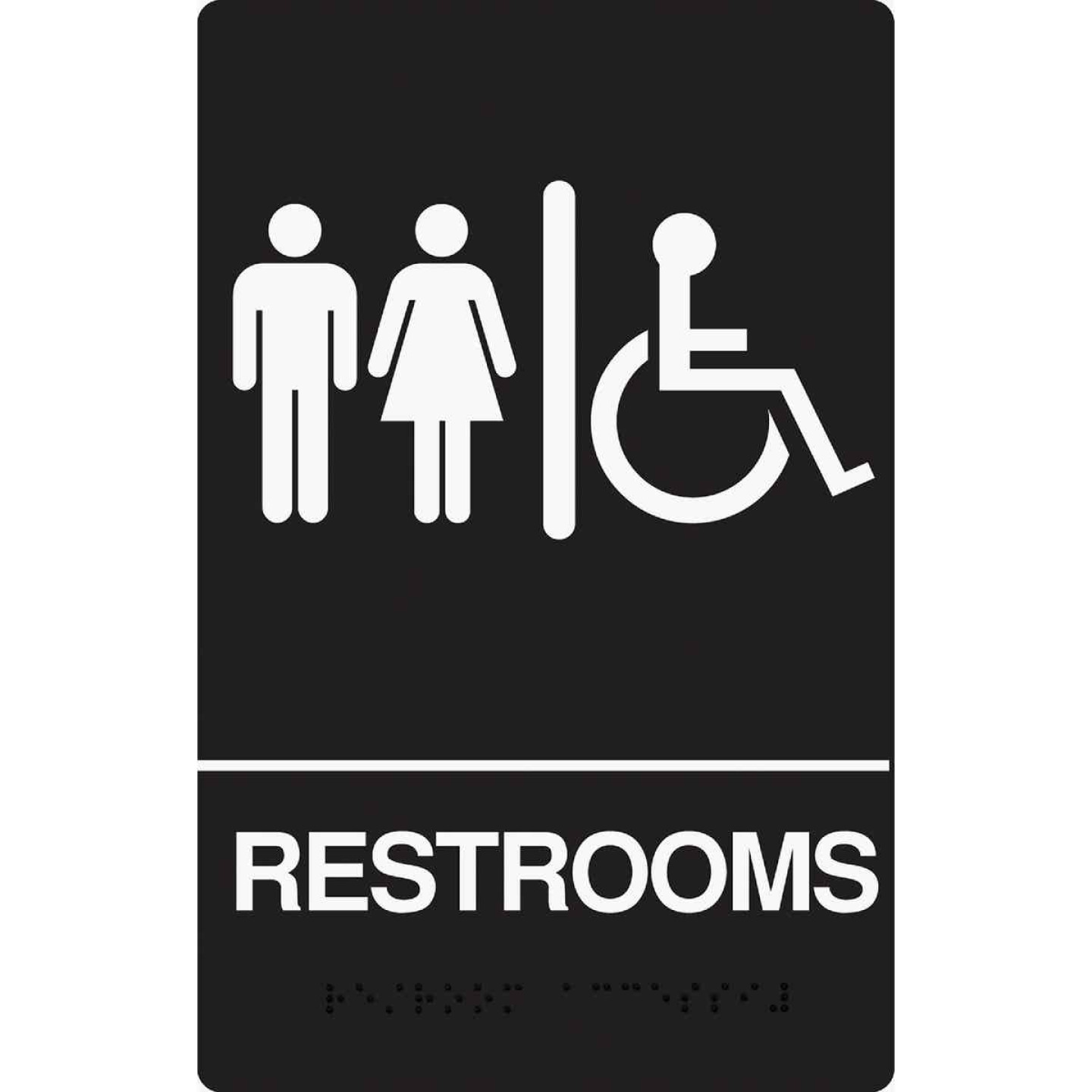 Hy-Ko Deco Series Plastic Braille Sign, Restrooms Handicapped Image 1