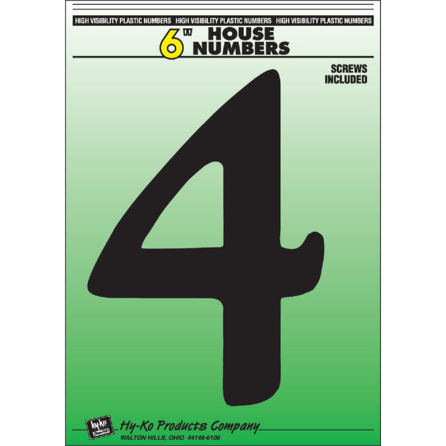 Hy-Ko 6 In. Black Gloss House Number Four Image 1