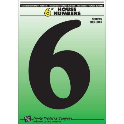 Hy-Ko 6 In. Black Gloss House Number Six