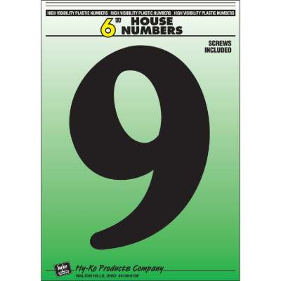 Hy-Ko 6 In. Black Gloss House Number Nine