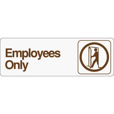 Hy-Ko Deco Series Plastic Sign, Employees Only