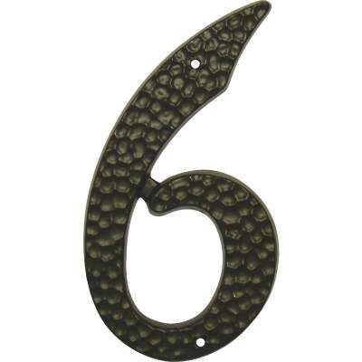 Hy-Ko 3-1/2 In. Black Hammered House Number Six