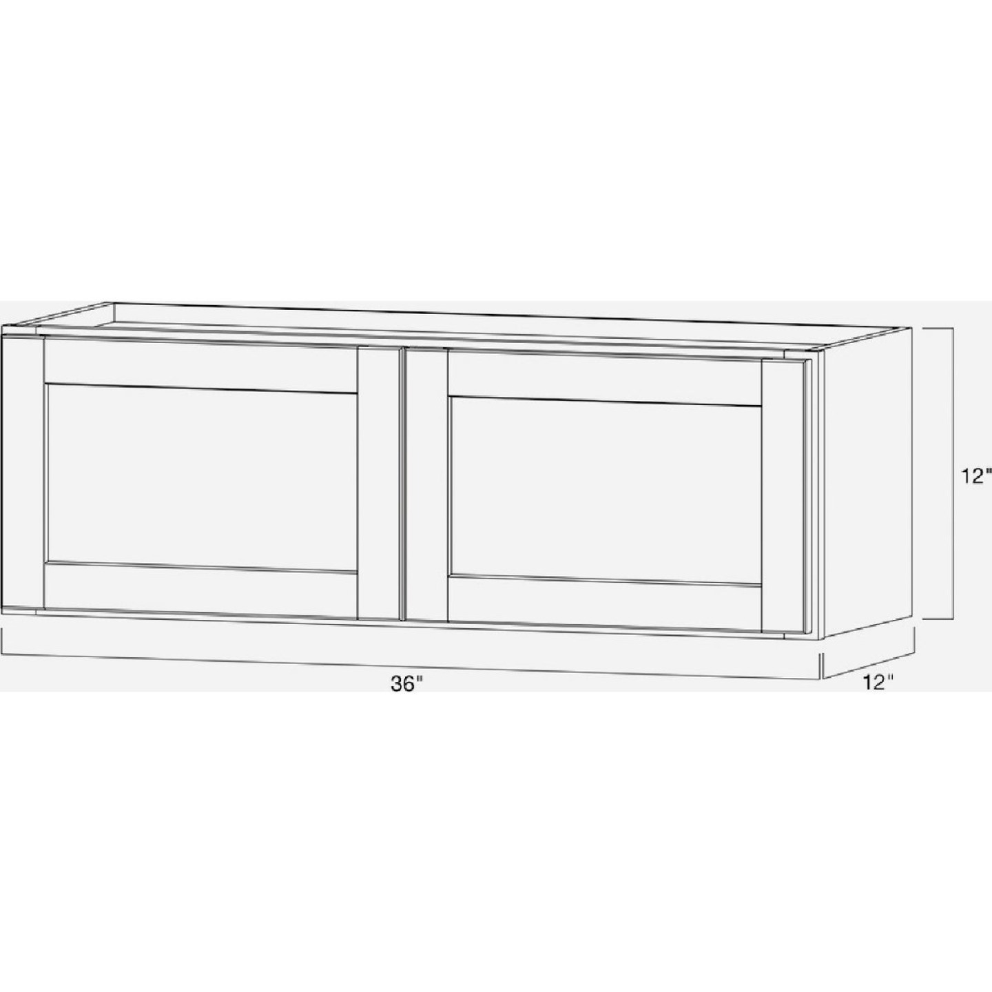 Continental Cabinets Andover Shaker 36 In. W x 12 In. H x 12 In. D White Thermofoil Bridge Wall Kitchen Cabinet Image 4