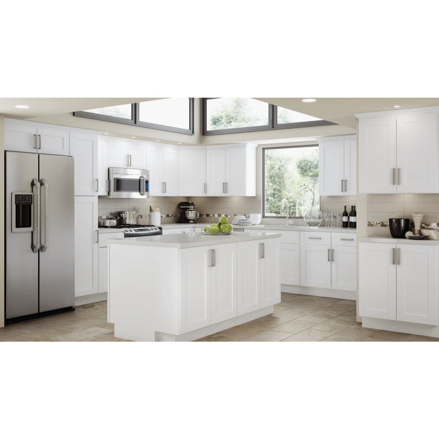 Continental Cabinets Andover Shaker 36 In. W x 12 In. H x 12 In. D White Thermofoil Bridge Wall Kitchen Cabinet Image 2