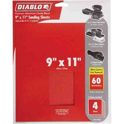 Diablo 9 In. x 11 In. 60 Grit Ultra Coarse Sandpaper (4-Pack)