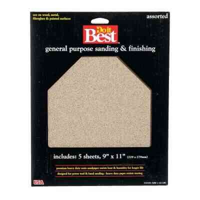 Do it Best General Purpose 9 In. x 11 In. 220/150/100/60 Grit Assorted Grade Sandpaper (5-Pack)