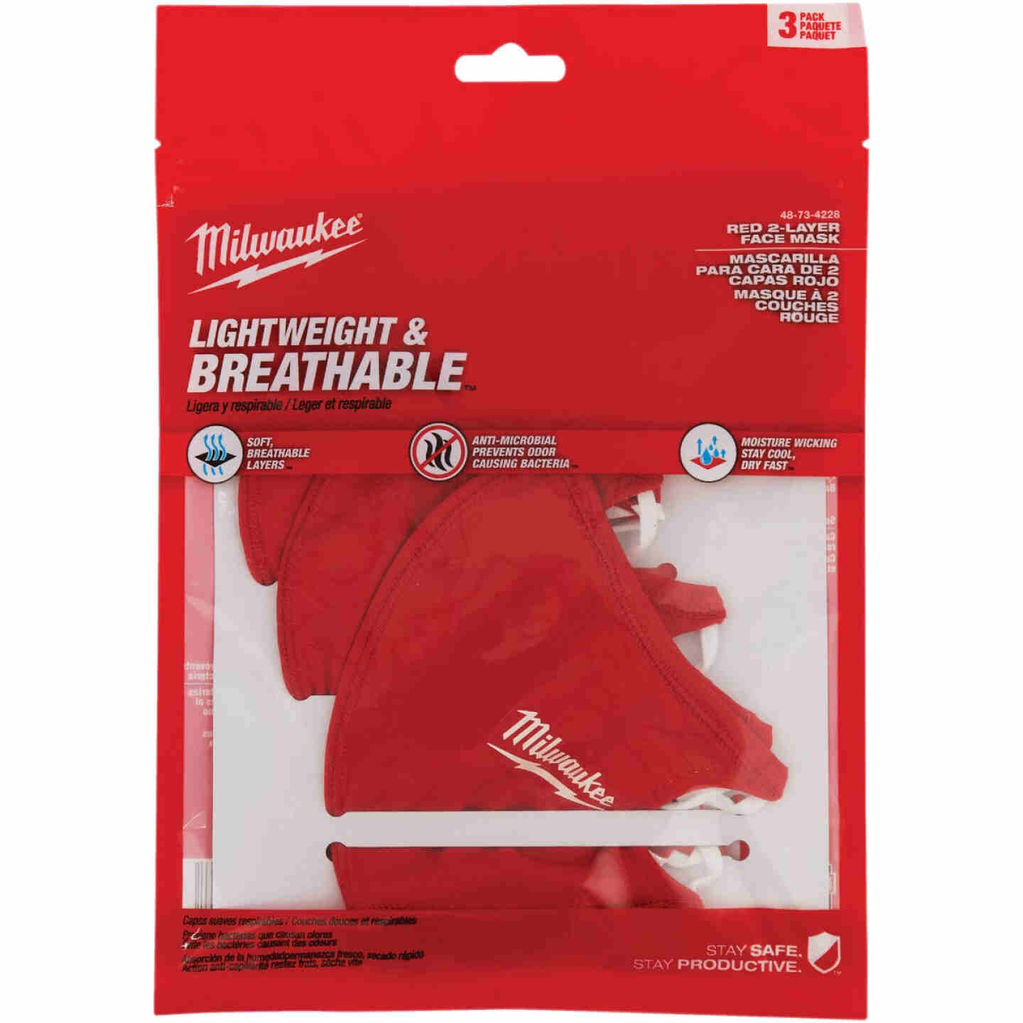 Milwaukee Red 2-Layer Washable Dust & Face Mask (3-Pack) Image 4