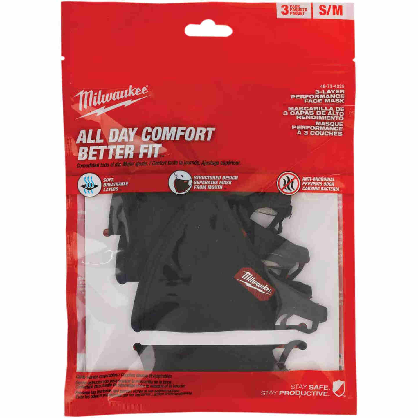 Milwaukee S/M 3-Layer Washable Performance Dust & Face Mask (3-Pack) Image 5