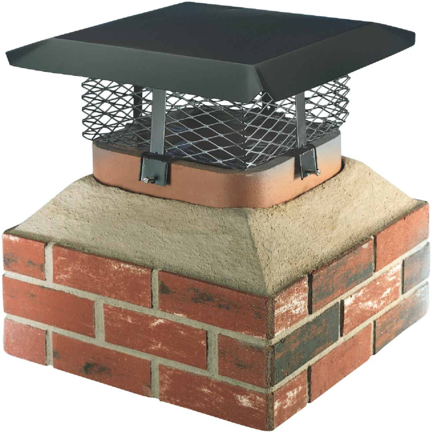 Shelter Adjustable Black Galvanized Steel Single Flue Chimney Cap Image 1