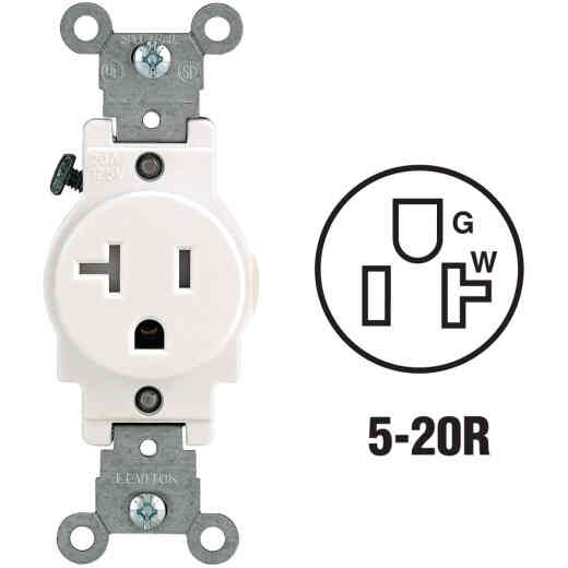 Leviton 20A White Commercial Grade 5-20R Tamper Resistant Single Outlet