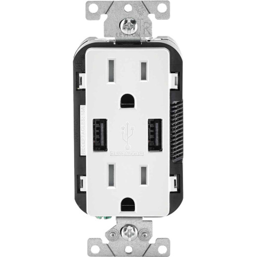 Leviton Decora 3.6A 5V White 2-Port USB Charging Outlet with 5-15R Tamper Resistant Duplex Outlet