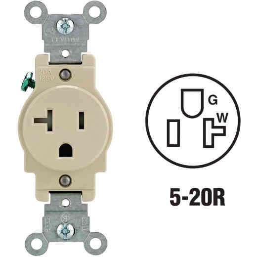 Leviton 20A Ivory Commercial Grade 5-20R Tamper Resistant Single Outlet