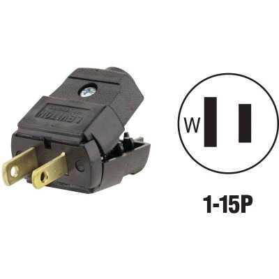 Leviton 15A 125V 2-Wire 2-Pole Hinged Cord Plug, Black