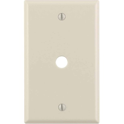 Leviton 1-Gang Plastic Light Almond Telephone/Cable Wall Plate with 0.312 In. Hole