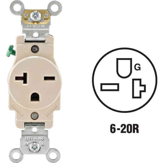 Leviton 20A Light Almond Heavy-Duty 6-20R Grounding Single Outlet