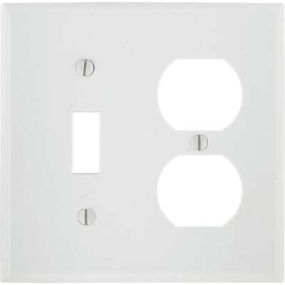 Leviton Oversized 2-Gang Thermoset Single Toggle/Duplex Outlet Wall Plate, White