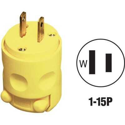 Leviton 15A 125V 2-Wire 2-Pole Residential Grade Cord Plug, Yellow