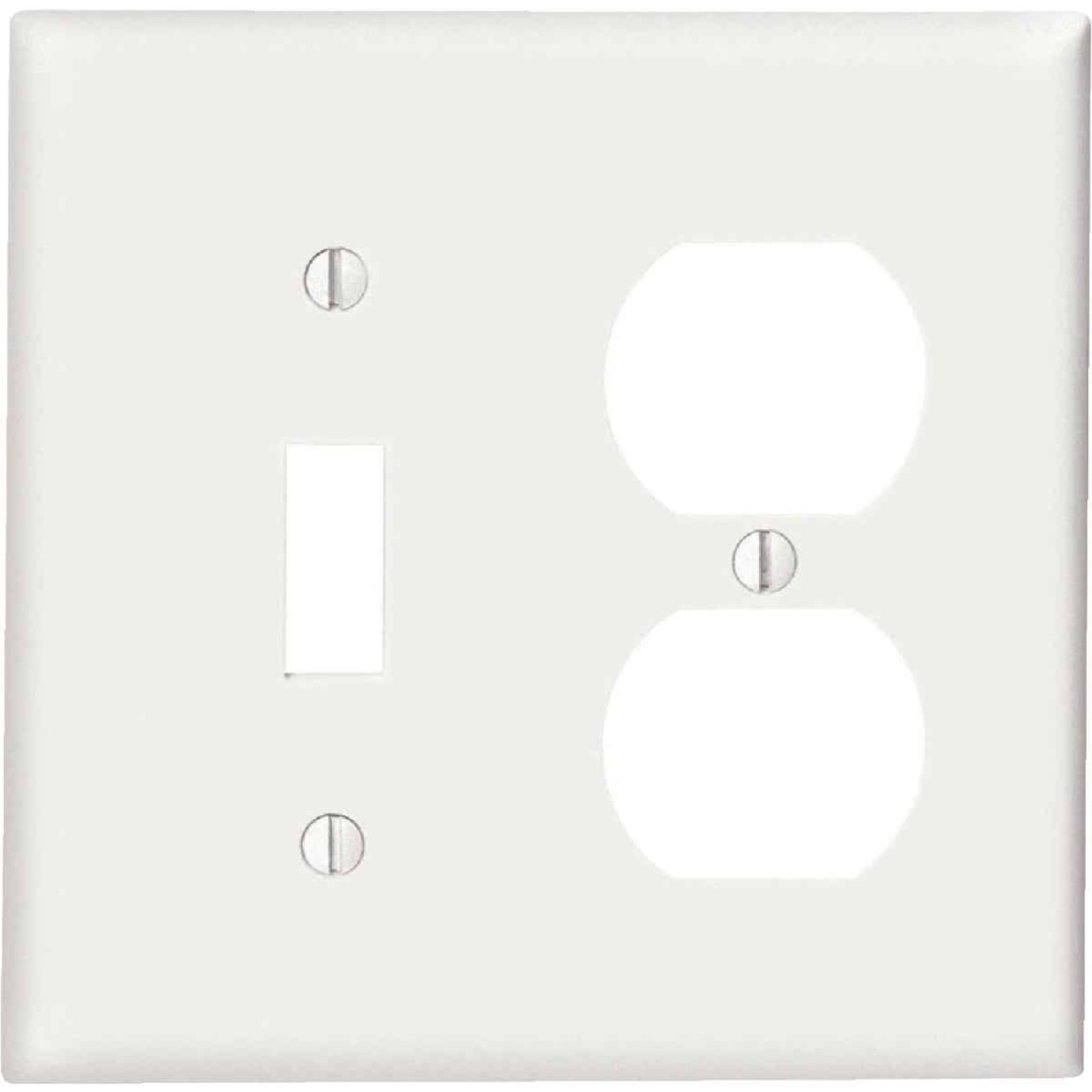 Leviton Commercial Grade 2-Gang Thermoplastic Single Toggle/Duplex Outlet Wall Plate, White Image 1