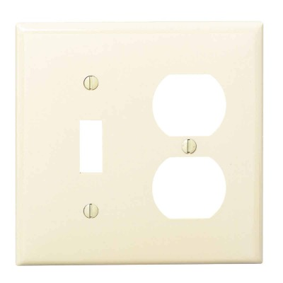 Leviton Commercial Grade 2-Gang Thermoplastic Single Toggle/Duplex Outlet Wall Plate, Ivory