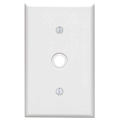 Leviton 1-Gang Thermoset Plastic White Telephone/Cable Wall Plate with 0.406 In. to 0.625 In. Hole