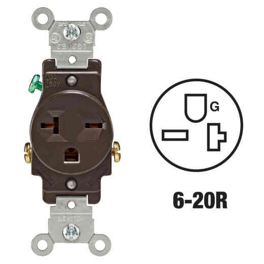 Leviton 20A Brown Heavy-Duty 6-20R Grounding Single Outlet