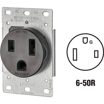 Leviton 50A Flush Mount Black 6-50R Welder Power Outlet