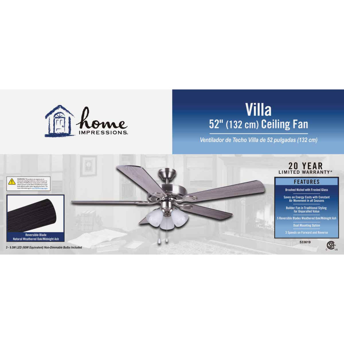 Home Impressions Villa 52 In. Brushed Nickel Ceiling Fan with Light Kit Image 2