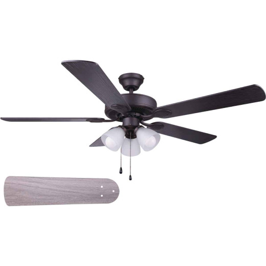 Home Impressions Villa 52 In. Oil Rubbed Bronze Ceiling Fan with Light Kit