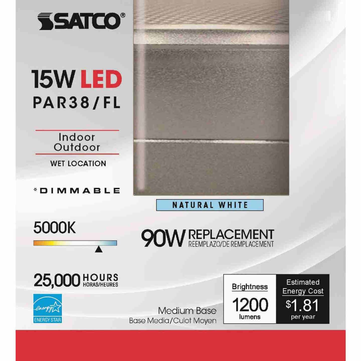 Satco Nuvo 90W Equivalent Natural Light PAR38 Medium Dimmable LED Floodlight Light Bulb Image 2