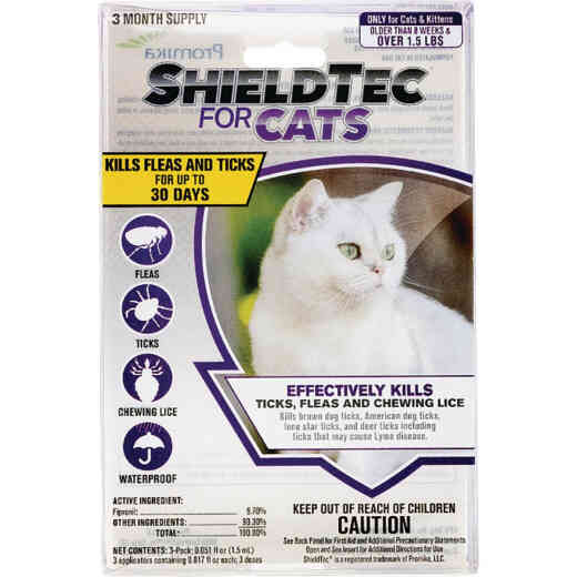 ShieldTec 3-Month Supply Flea & Tick Treatment For Cats Over 1-1/2 Lb.