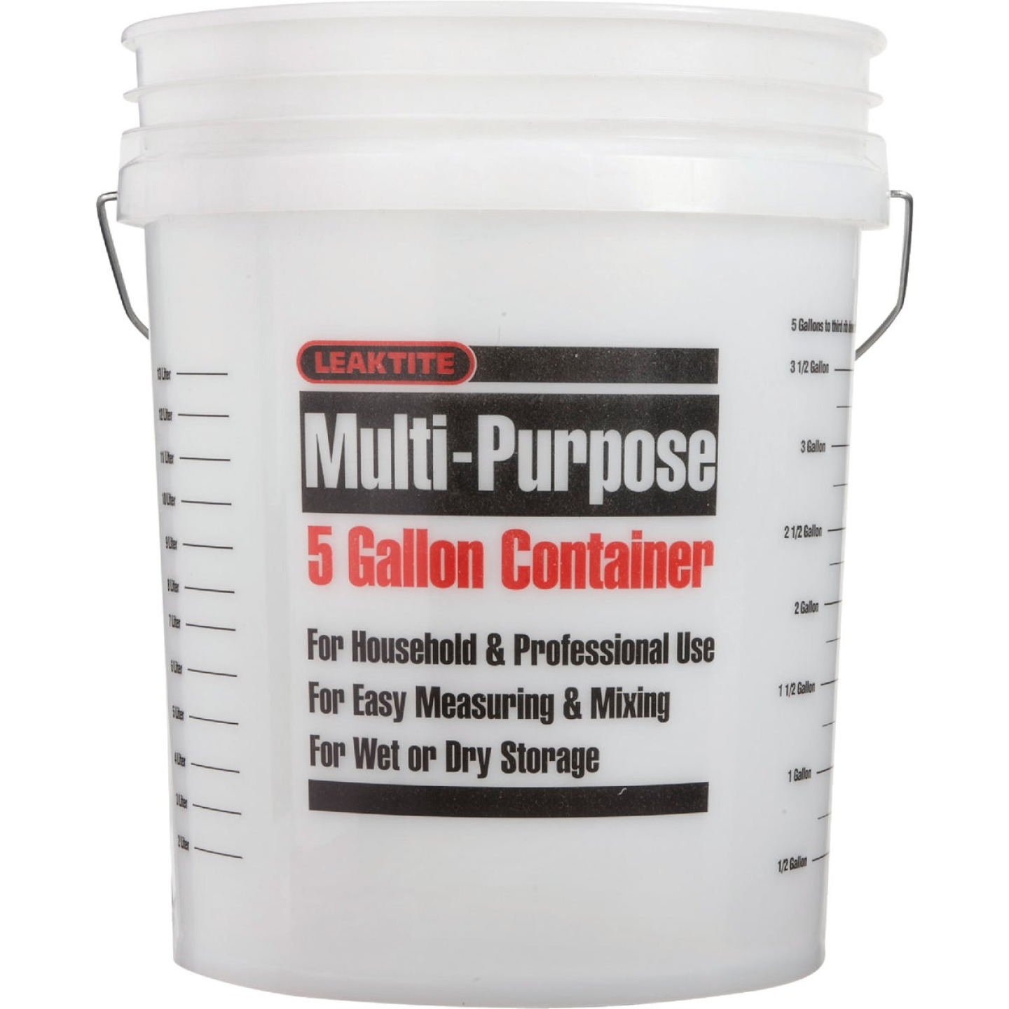 Leaktite 5 Gal. Clear Plastic Pail with Measuring Increments Image 2