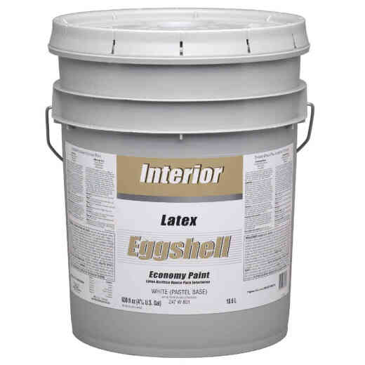 Economy Latex Eggshell Interior Wall Paint, White-Pastel Base, 5 Gal.