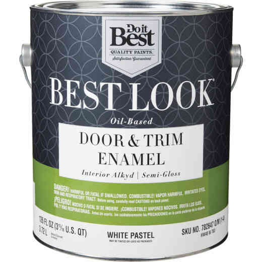 Best Look Alkyd/Oil Base Semi-Gloss Door & Trim Enamel Interior Wall Paint, White-Pastel Base, 1 Gal.