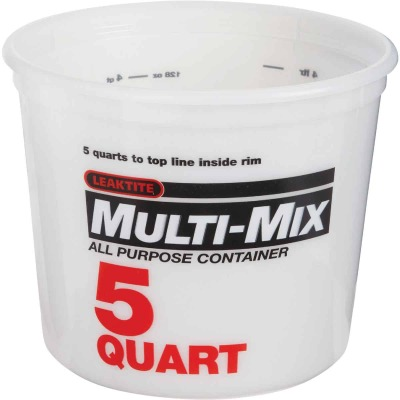 Leaktite 5 Qt. White Multi-Mix All Purpose Mixing And Storage Container