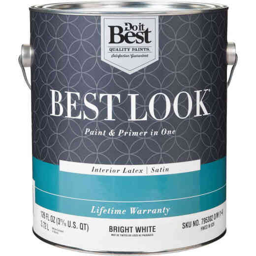 Best Look Latex Paint & Primer In One Satin Interior Wall Paint, Bright White, 1 Gal.