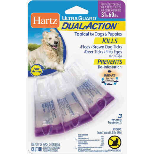 Hartz UltraGuard Dual Action 3-Month Supply Flea & Tick Treatment For Dogs & Puppies From 31 to 60 Lb.
