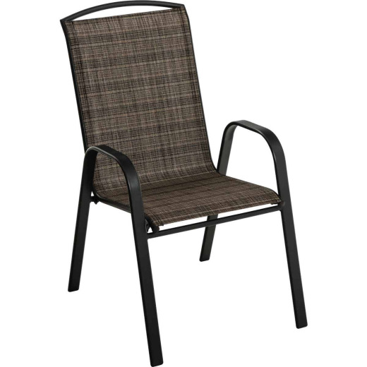 Outdoor Expressions Windsor Black Steel Sling Stacking Chair